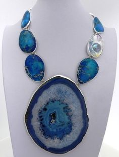 Charles Albert, Blue Agate Slice, Blue Jasper & Mabe Pearl Necklace.