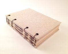 Handmade Blank Journal With Natural Linen Cover And Hemp Binding. Perfect As An Art Journal, Bullet Journal, Or Travel Journal.