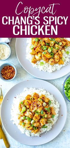 This Copycat Chang's Spicy Chicken recipe is the perfect sweet and spicy stir fry served over rice and garnished with sesame seeds and scallions! #changsspicychicken Spicy Chicken Recipes, New Recipes, Vegan Recipes, Delicious Recipes, Winner Winner Chicken Dinner, Sweet And Spicy, Copycat, Chana Masala