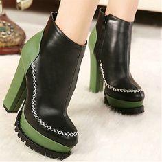 Womens Boots | Fabulous PU Zipper Black Round Closed Toe Chunky Super High Heel Boots - Hugshoes.com