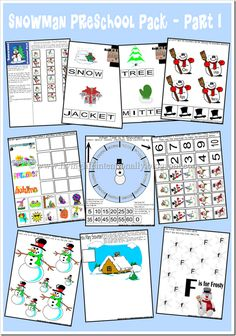 {FREE} Snoman Preschool Pack with almost 30 pages, includes Kindergarten activities, seasons, learning to tell time, patterning, scrabble, mazes, letters, and more.