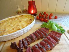 Edel's Mat & Vin : Mac 'n' cheese & Striploin ♫♪ Mac S, Hot Dogs, Sausage, Beef, Cheese, Ethnic Recipes, Food, Blogging, Meat