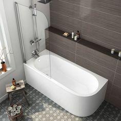 Left Hand Corner Bath & Shower Screen | 1695x745mm | soak.com