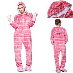 Adult Hooded Kigurumi Pink Snowflake Onesie Pajamas Cosplay Costume