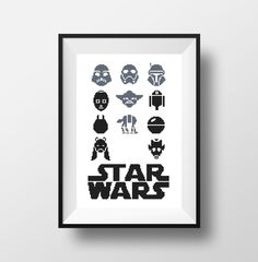 Star Wars Modern Cross Stitch Pattern, R2D2 3Po Yoda Darth Vader Boba Fett Clone Walker Robot, PDF Instant Download, Easy Pattern, art DIY