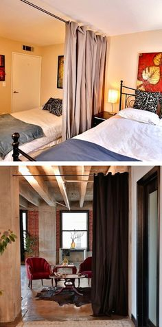 #21. Curtain room dividers. | 29 Sneaky Tips For Small Space Living