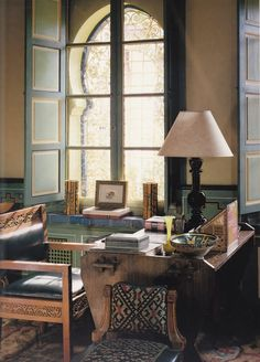 YSL's Marrakech house: Villa Oasis. Designed by Bill Willis & Jacques Grange.  An Arts and Crafts writing and drawing desk.