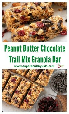 These Peanut Butter Chocolate Trail Mix Granola Bars are made with wholesome ingredients to create homemade granola bars you feel good about eating. http://www.superhealthykids.com/peanut-butter-chocolate-trail-mix-granola-bars/