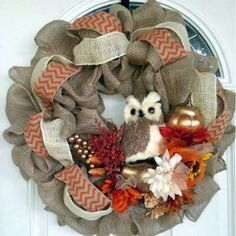 Fall Owl Wreath made by the talented Clara Nicole of She's Crafty!