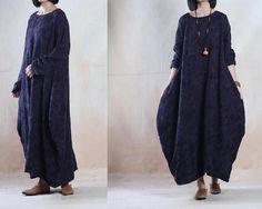 Women Linen Dress Loose Fitting Dress Maxi Dress - Tkdress  - 1