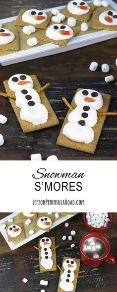 S'mores - a fun winter treat Treat the kids to a fun snack with these sweet snowman s'mores! Such an easy and adorable way to have a little fun with the littles during those snow days.Little by Little Little by Little may refer to: Easy Christmas Treats, Christmas Goodies, Christmas Desserts, Holiday Treats, Kids Christmas, Holiday Recipes, Christmas Recipes, Christmas Cooking, Christmas Crafts