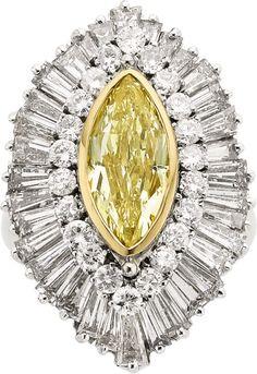 Yellow & White Diamond & Platinum Ring
