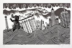 Stanley Donwood - Lost Angeles / The work was originally carved into 18 separate panels of linoleum, then hand burnished onto Japanese Kozo paper to create the epic print. Shown here is an extract from the piece, above, plus other works from the Lost Angeles series that also form part of the exhibition #linoleum #print