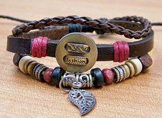 mens charm leather bracelets friendship leather by lifesunshine, $6.99