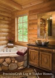 cabin bath. I love the way the tub is positioned near the window in the corner and the rock on it