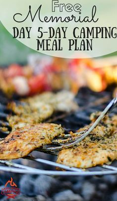 Going camping over Memorial Day Weekend? Grab this FREE camping meal plan that has 5 days of meals, a prep checklist + grocery shopping list!