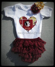 Seminoles Onesie, Lace Ruffle Diaper Cover and Headband Set Made from Florida State University Fabric, FSU Baby