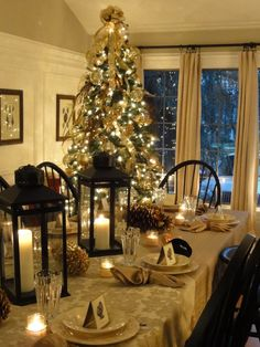 Love the tree in the dining area. So pretty with all the candles and white lights!