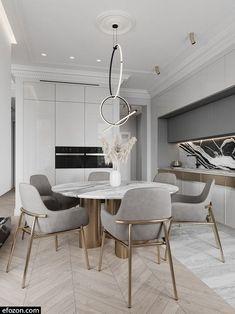 Kitchen Room Design, Modern Kitchen Design, Dining Room Design, Home Decor Kitchen, Interior Design Kitchen, Home Design, 3d Interior Design, Modern Dining Room Tables, Luxury Dining Room