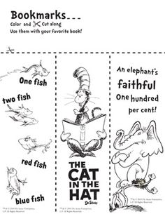 Seuss Bookmarks to Color Informations About Dr. Seuss Bookmarks to Color - Library Learners Pin Dr. Seuss, Dr Seuss Week, Dr Seuss Activities, Book Activities, Sequencing Activities, Theodor Seuss Geisel, Library Lessons, Library Ideas, Library Boards