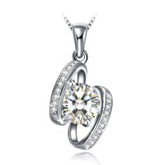 ZENI 925 Sterling Silver Pendant Necklace 18 Box Chain Moon and Diamond Pendant Simple Fashion Ladies Jewelry