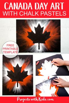 Create this stunning Canada Day chalk pastel art with only a few simple supplies! Kids of all ages will love using chalk pastels to make this super easy art project. art aesthetic Canada Day Chalk Pastel Art Project for Kids Fall Art Projects, Projects For Kids, Crafts For Kids, Project Projects, Children Crafts, Preschool Crafts, Fun Crafts, Paper Crafts, Chalk Pastel Art