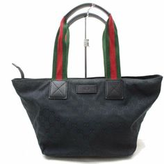 79846be366f Web Gg Supreme Xl Black Large G Logo Print Canvas and Red and Green Striped  Fabric Handles Leather Tote