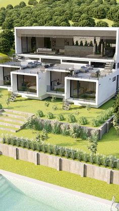 Sims House Design, Village House Design, Modern Small House Design, Modern House Plans, House Architecture Styles, Hotel Design Architecture, House Plans Mansion, Beautiful House Plans, Casas Containers