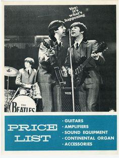Beatles Vox Guitars Amplifiers Price List 1966 USA | eBay