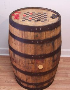 Aged Repurposed Oak Whiskey Barrel Table by AuntMollysBarrels, $249.00