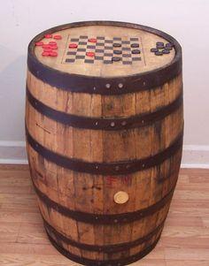 Aged Re-purposed Oak Whiskey Barrel Table c/Checker-Chess Board