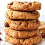 Flourless Peanut Butter Oatmeal Cookies Recipe - sweet and delicious cookies made with peanut butter and packed with oats and dried fruit.