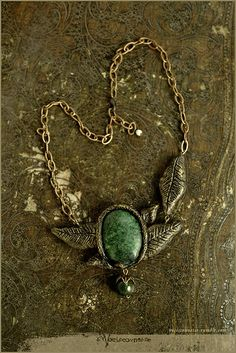 """""""Dryad necklace"""" handmade necklace with large Moss Agate, by Vocisconnesse. Soon available on my etsy. vocisconnesse.tumblr.com"""