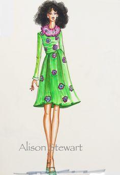 Illustration by Alison Stewart  #fashionillustration #croquis #sketch