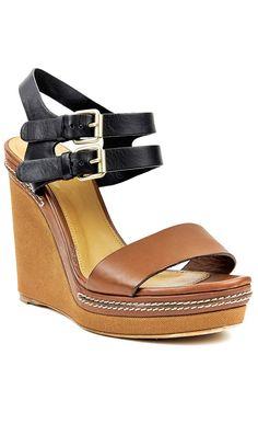 Chloe black and tan wedge sandal