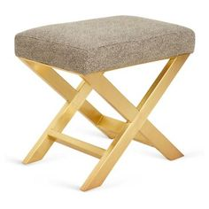 """Check out this item at One Kings Lane! Peter 23"""" X-Bench, Cream/Black Dots"""