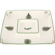 Christmas Tree Porcelain Chip & Dip Tray
