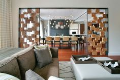 Stylish room divider using wooden boxes