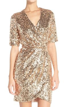 Short Sleeves V Neck Sequin Rose Gold Cocktail Dress Wedding Party Formal Gown MACloth Short Sleeves V Neck Sequin Rose Gold Cocktail Dress Wedding Party Formal Gown Gold Sequin Dress, Embellished Dress, Gold Gown, Holiday Party Dresses, Wedding Party Dresses, Faux Wrap Dress, Mesh Dress, Rose Gold Cocktail Dress, New Years Eve Dresses