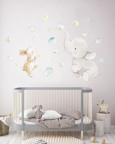 Baby Bedroom, Baby Boy Rooms, Baby Room Decor, Nursery Wall Decals, Nursery Room, Nursery Decor, Elephant Decoration, Elephant Themed Nursery, Baby Room Neutral