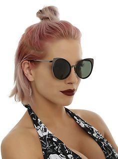 Metal Black On Black Cat Ear Round Sunglasses,