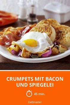 Crumpets mit Bacon und Spiegelei
