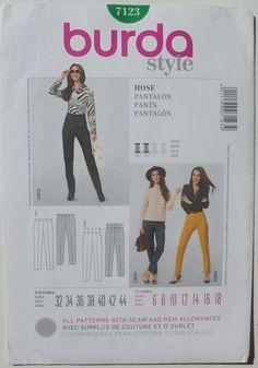 Burda Style 7123 Pants Pantalon Sz6-18 nsld 0.99+2.61 6/14/17