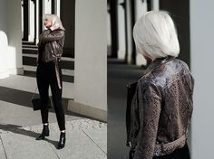 Get this look: http://lb.nu/look/8682627  More looks by MONIKA S: http://lb.nu/mxagnes  Items in this look:  Snake Print Biker Jacket, Mesh Turtleneck Bodysuit, High Waisted Suede Pants, Croco Print Leather Ankle Boots, Leather Clutch With Chain   #chic #minimal #street