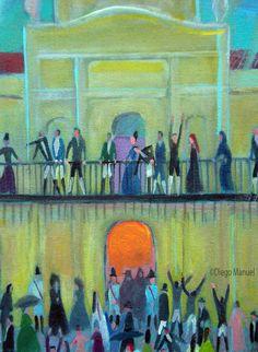 """""""25 de mayo III """" ,acrilico sobre lienzo,sin marco 48 x 41 cm., 2010. Cuadro en venta de la Serie Historia Argentina del artista plastico Diego Manuel"""