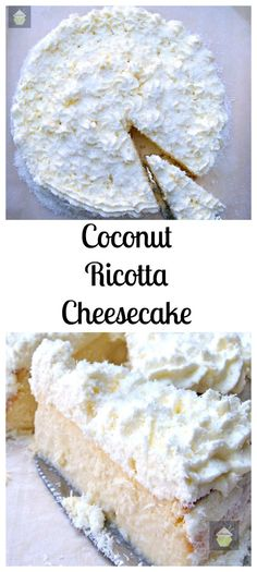 Coconut Ricotta Cheesecake. A wonderful fluffy, soft & creamy baked cheesecake, out of this world! #dessert #baked