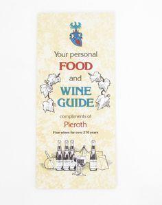Pieroth Brothers Inc Food and Wine Guide, Vintage Restaurant Menu