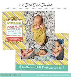 INSTANT DOWNLOAD Birth Announcement Template por hazyskiesdesigns