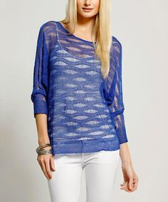 Look at this Dolce Cabo Blue Sheer Sweater on #zulily today!