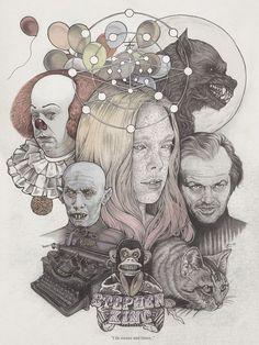 """I lie awake and listen..."" by Martine Johanna (illustration of Stephen King books)"